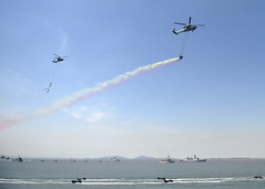 Republic of Korea Navy and coalition forces provide a reenactment during the 65th annual Incheon Amphibious Landing Operations Commemoration ceremony. (U.S. Navy/MC1 Abraham Essenmacher)