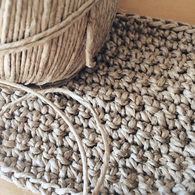 Crocheting hemp twine. Great texture and look but it's a serious test of hand and finger strength! #crochet #hemp #hempyarn