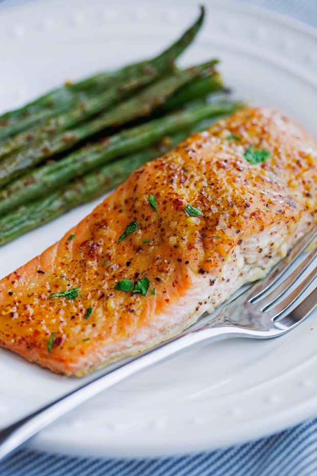 One Pan Honey Mustard Salmon with Green Beans Recipe | Little Spice ...