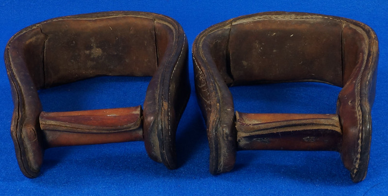 RD14952 Vintage Pair of Leather Over Wood Stirrups DSC07360