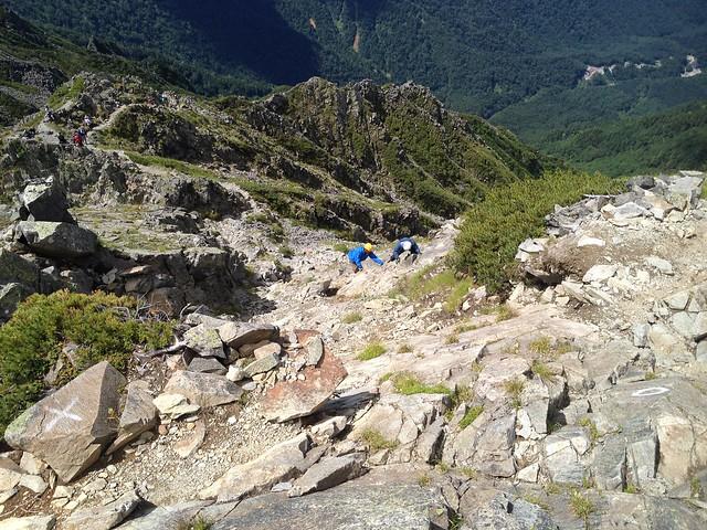 西穂高岳 山頂直下の岩場