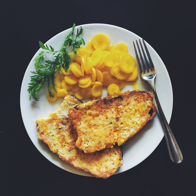 Pan-perduto - savory french toast, with carrots in vinaigrette