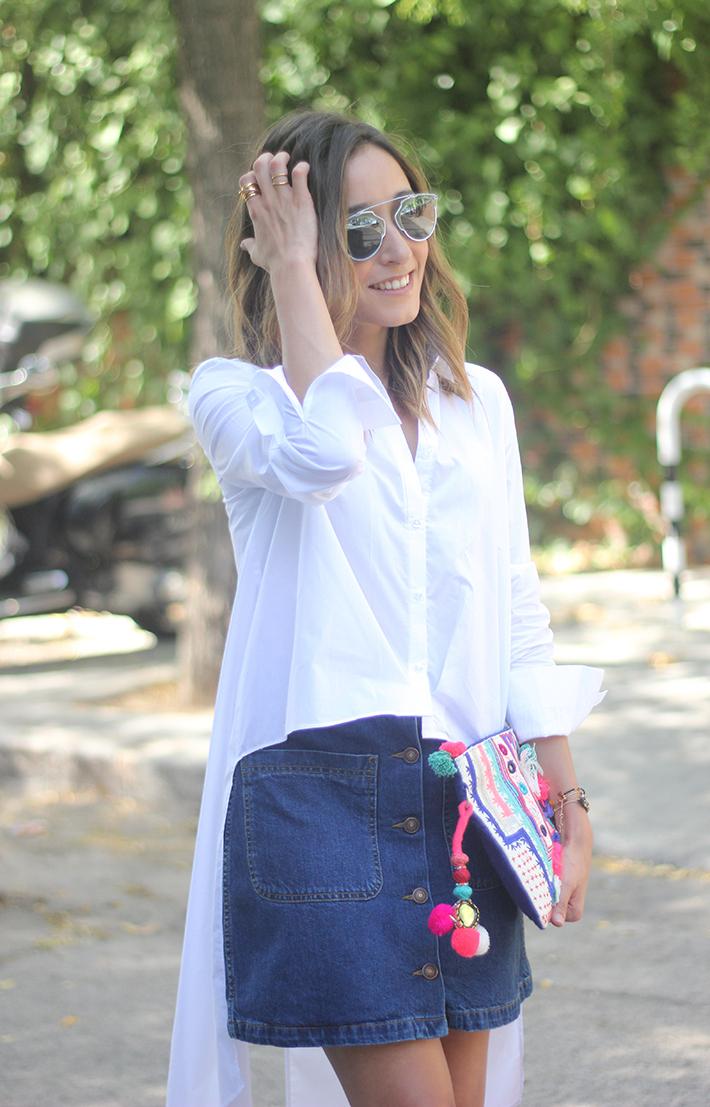 Long Shirt With Denim Skirt Summer Outfit 25