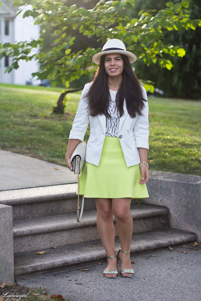 green skirt, kiss tee, white blazer, panama hat-3.jpg
