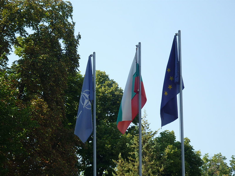 Flags of Nato, Bulgaria, European Union in front of the Military club, Plovdiv, Bulgaria