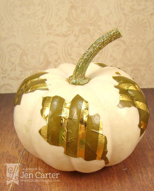 Jen Carter Gold Pumpkin Leaves 5 wm