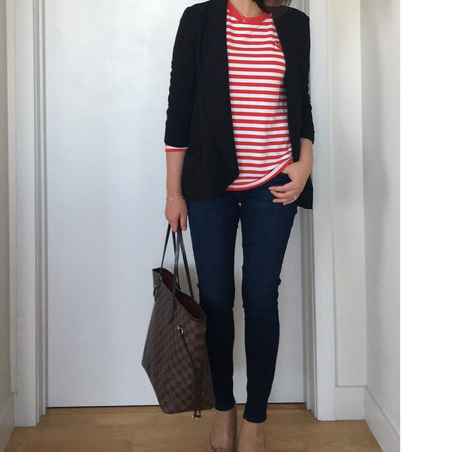 Shein Red White Long Sleeve Striped T-Shirt