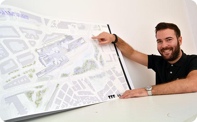 Un alumno de Arquitectura diseña una terminal intermodal que aúna AVE, FEVE y un futuro tranvía
