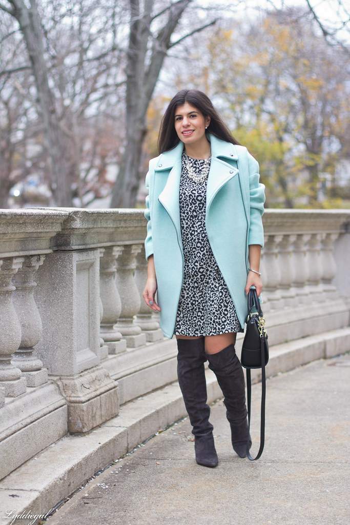 leopard print dress, mint green cocoon coat, over the knee boots.jpg