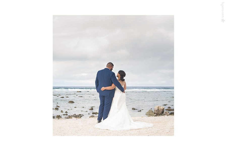 A Moment Alone. couple wedding portrait, sunset, Matavera, Rarotonga coastline