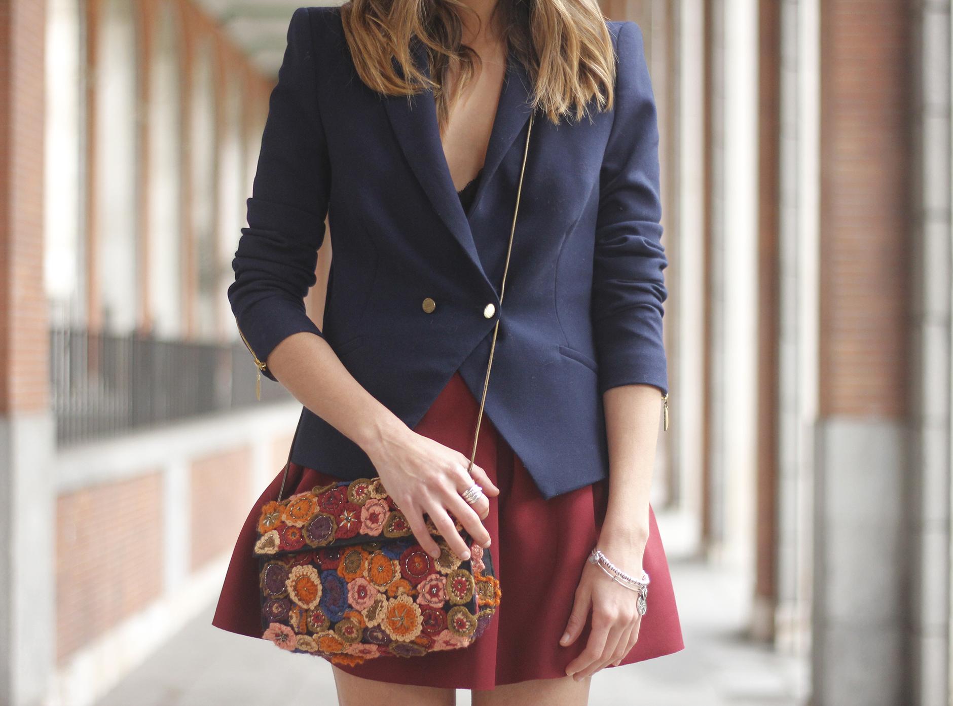 Blue Blazer Burgundy Skirt Outfit16