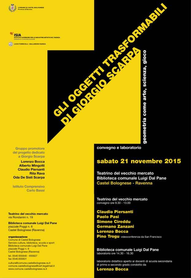 A Castel Bolognese gli oggetti trasformabili di Giorgio Scarpa: geometria come arte-scienza-gioco, sabato 21 novembre 2015