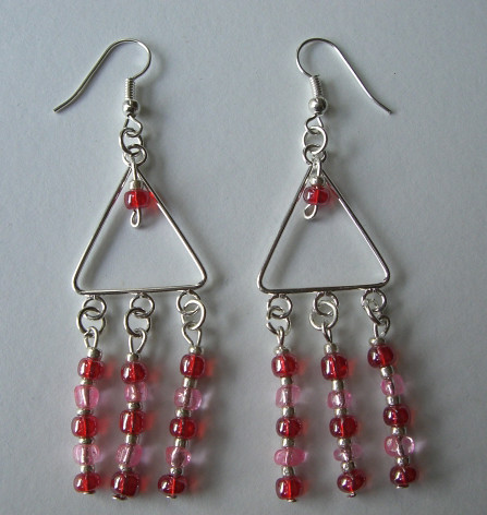and pink triangle chandelier earrings flickr photo