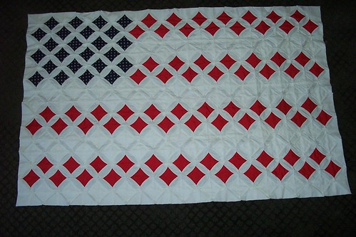 Cathedral Window Quilt  US Flag