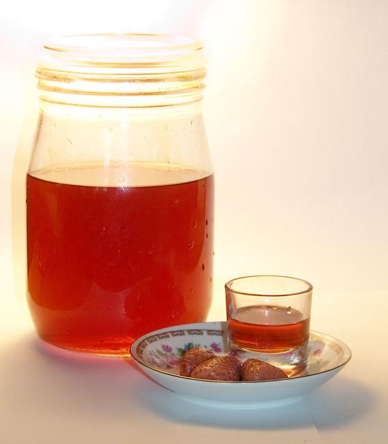 Strawberry liqueur | Homemade strawberry liqueur, just filte ...