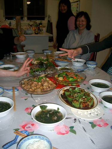 A family dinner at home in an Asian household