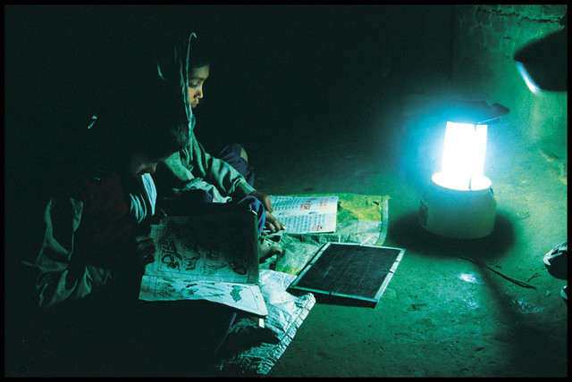 Studying by solar lantern