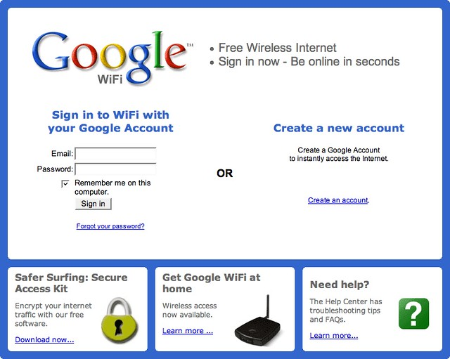 Google WiFi login page