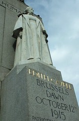 Edith Cavell Sculpture in London, from a low angle