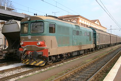 D345 class engine with goods train at Lucca