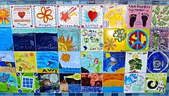 Decorated tiles in front of Boys & Girls Club building, Santa Cruz