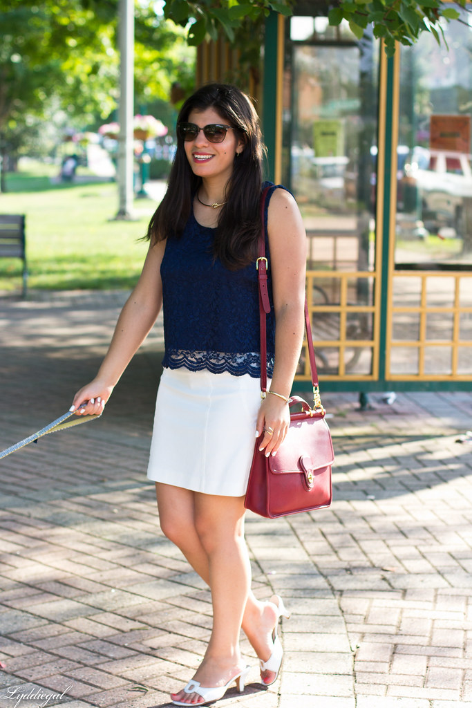 navy scalloped lace top, white mini skirt, red coach bag-1.jpg