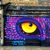 Do you ever feel you're being watched / bright wonderful street art near Spittalfields in London / with the rain the reflections on the pavement were enthralling but only just captured in the photo / there were some brilliant other artworks but I didn't h