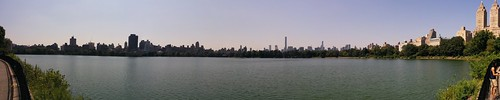 Central park reservoir panoramic view New York skyline