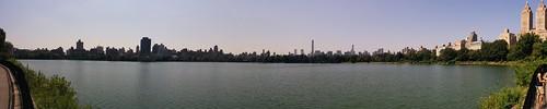 Central park reservoir panoramic view New York skyline