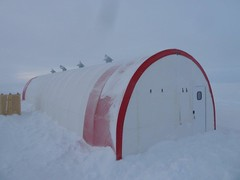 Photo of the drilling tent after its first winter-over at the South Pole.