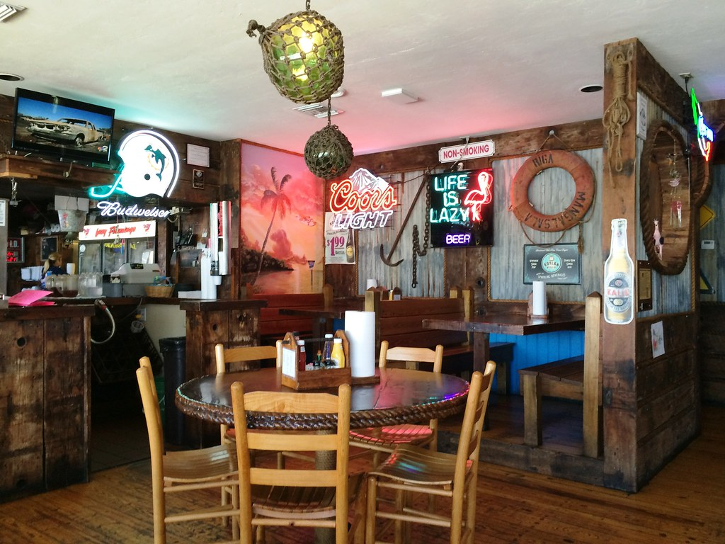 Lunch break at the Lazy Flamingo in Bokeelia, Fla.