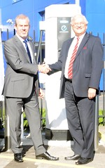 Surrey Deputy Leader Peter martin and Vines of Guildford's Head of Business Mark Hollands