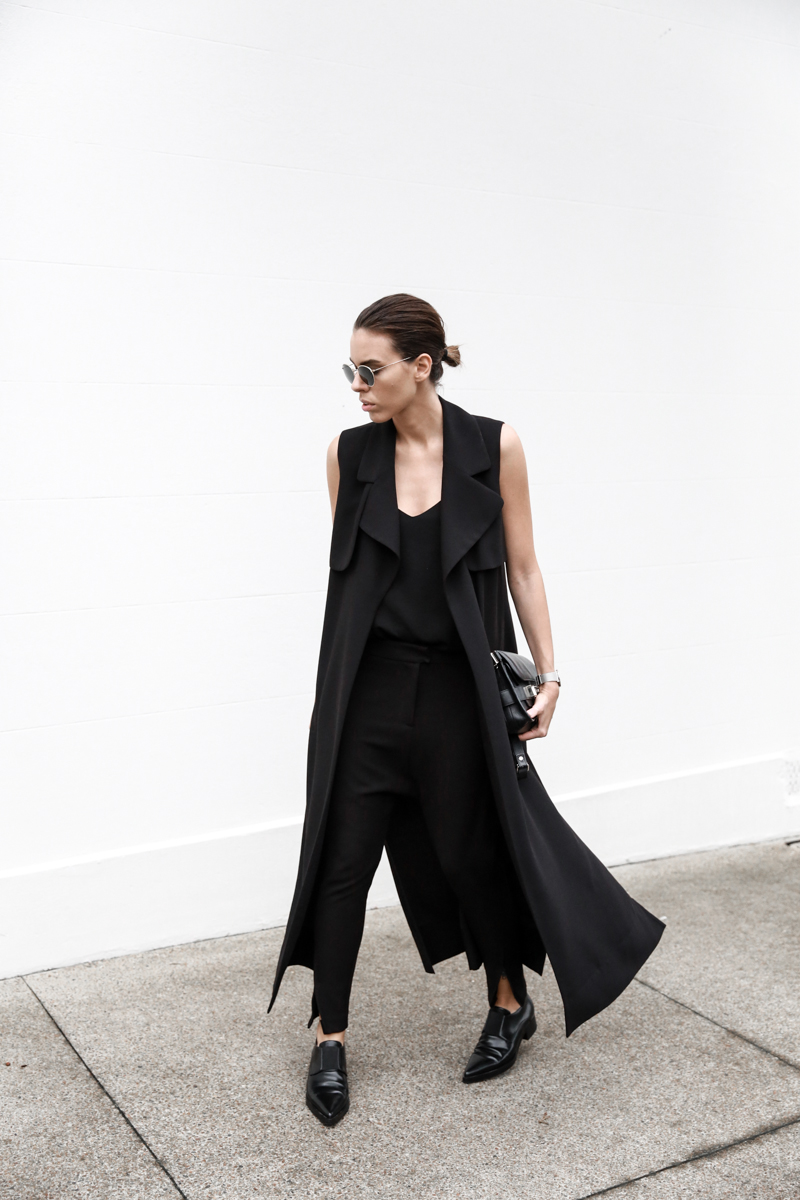 all black street style, minimal, sleeveless coat, Proenza Schouler PS11 Mini, Stella McCartney Loafers, Camilla and Marc cami, American Express Shop Small, fashion blog, modern legacy (1 of 1)