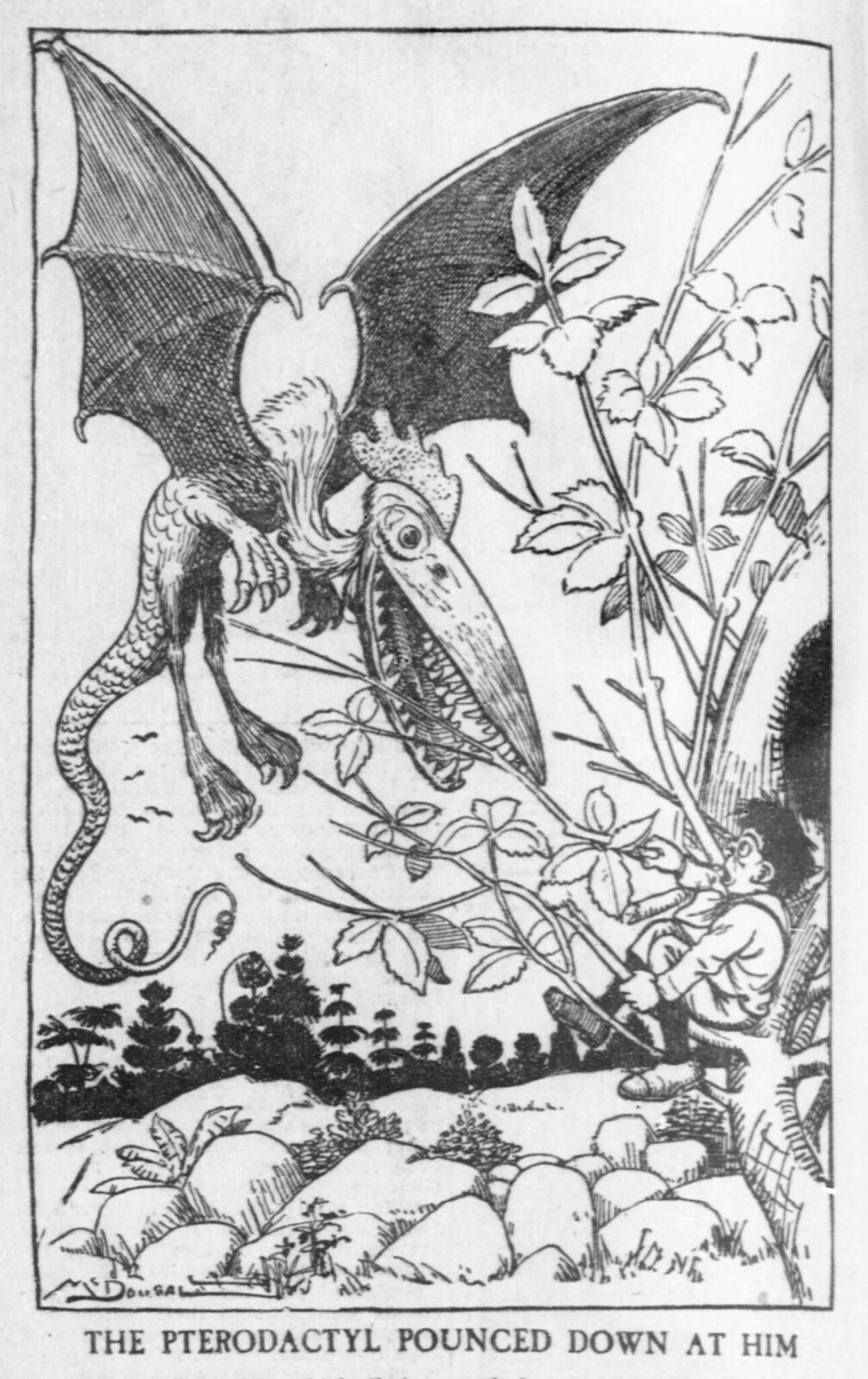 Walt McDougall - The Salt Lake herald., May 18, 1902, The Pterodactyl Pounced Down At Him