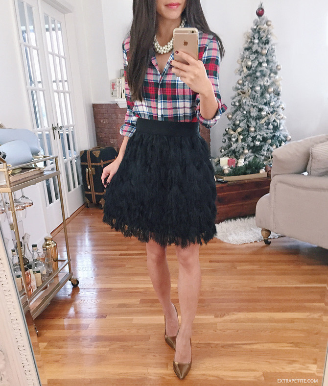 holiday outfit tartan plaid feather skirt banana republic petite
