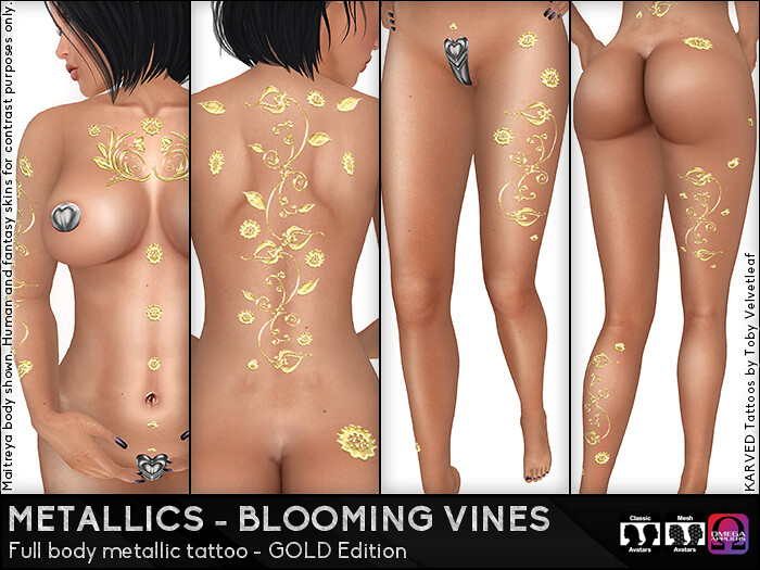 KARVED Metallic Tattoos (Blooming Vines Gold) - SecondLifeHub.com