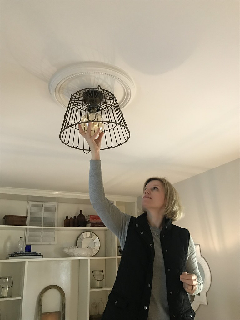 Our lightbulb moment creating a diy wire basket light fixture the large bulb looked great and cast wonderful shadows on the ceiling from the wire basket arubaitofo Image collections