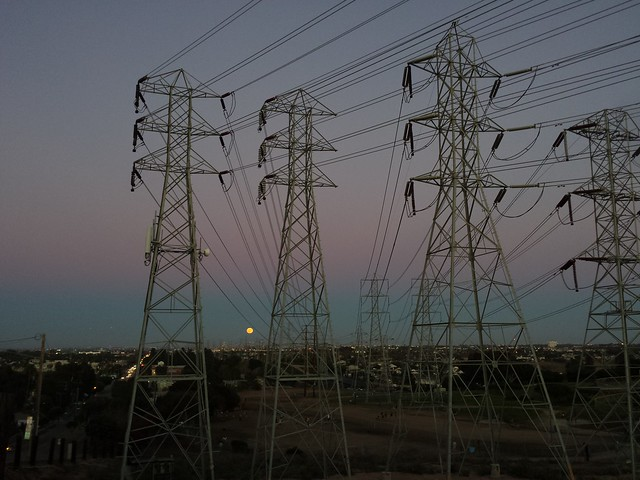 Moonrise and Power Lines