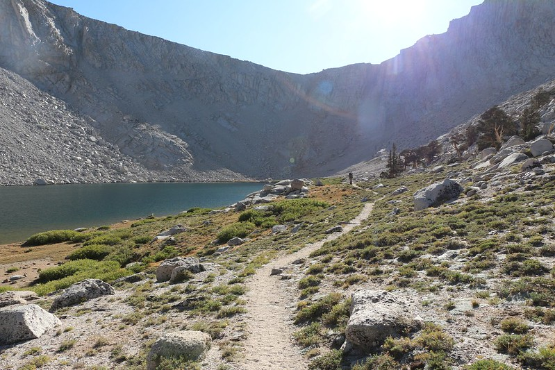 Looking back at Old Army Pass in the afternoon sun from Cottonwood Lake Number 4