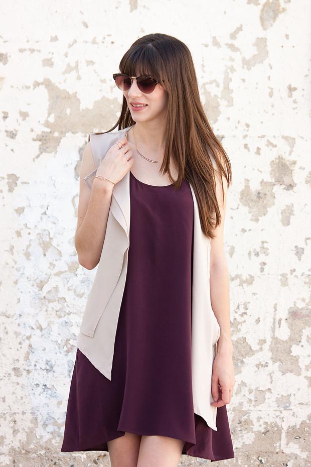Everlane Silk Dress, Asymmetrical Vest, Loft Sunglasses, Gorjana Necklace