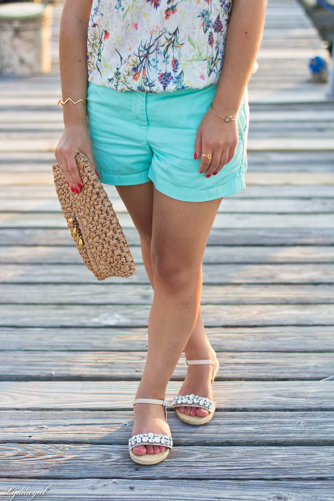 floral blouse, turquoise shorts, jeweled sandals-9.jpg