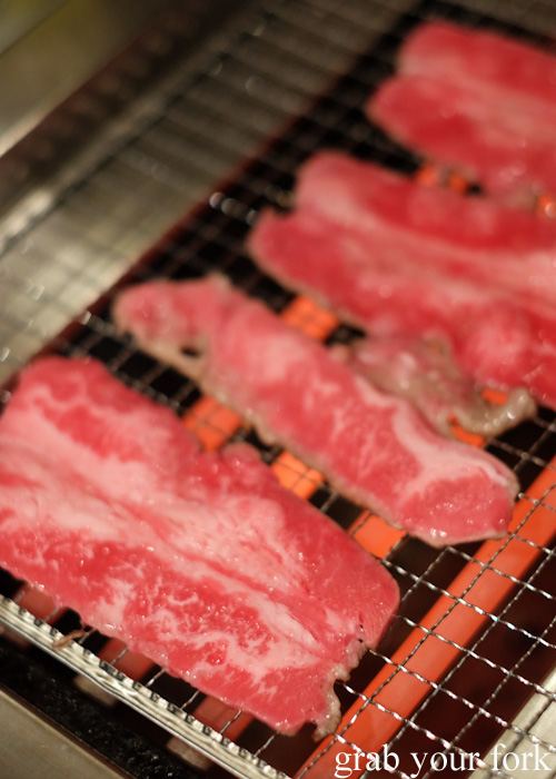Marbled beef slices at Nanda all-you-can-eat buffet in Sapporo