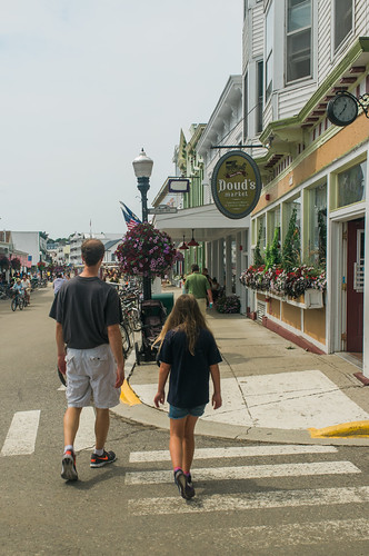 Walking the streets of Mackinac Island.