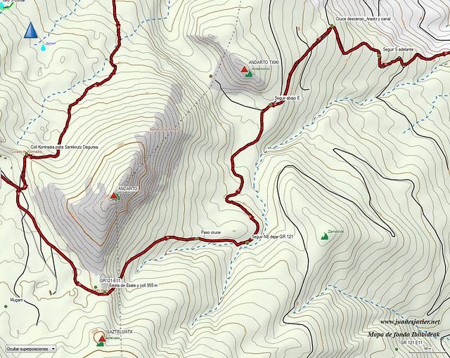 AIZKORRI raizk021 mapa26 detalle IBILBIDEAK Aranzadi valles Degurixa y Araotz