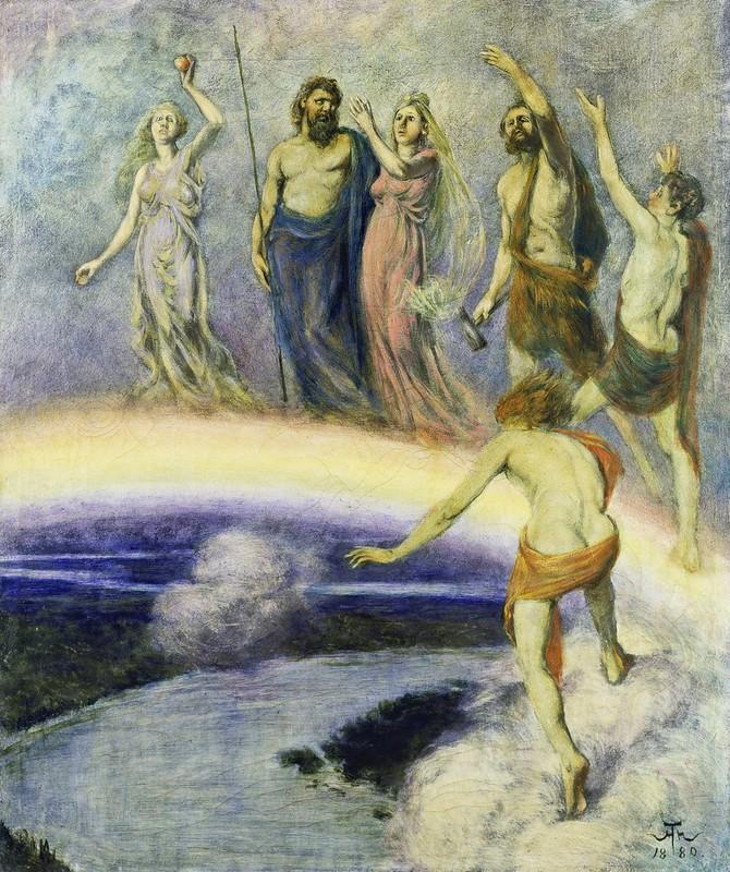 Hans Thoma - Zug der Götter nach Walhall (1880)