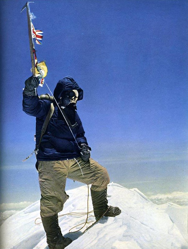 Sir Edmund Hillary, first to ascend Mt. Everest, with Tensing Norgay