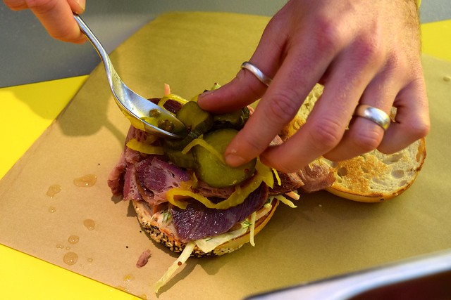 Assembling a Salt Beef Bagel at Little Joe's Deli, Canterbury | www.rachelphipps.com @rachelphipps