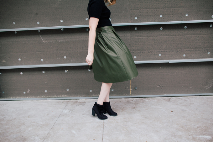 olive leather skirt crop top9