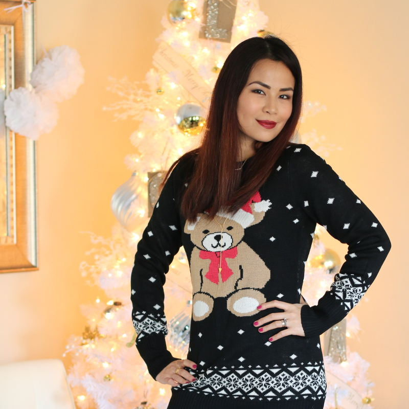 Tipsy Elves Teddy Bear sweater dress, suede boots
