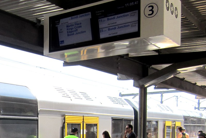 Sydney suburban station next train displays
